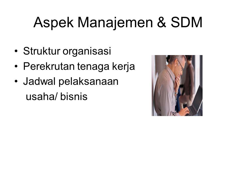 Aspek Manajemen & SDM Struktur organisasi Perekrutan tenaga kerja