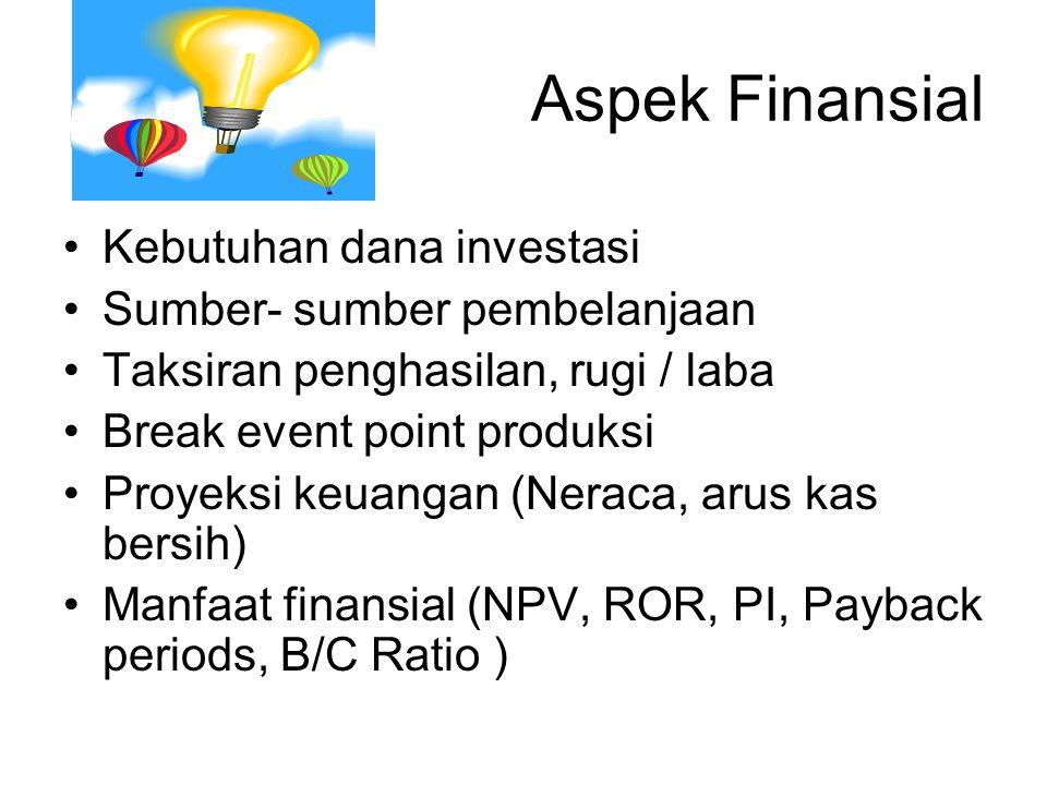 Aspek Finansial Kebutuhan dana investasi Sumber- sumber pembelanjaan