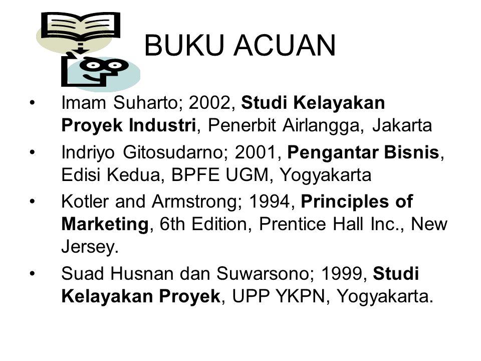 BUKU ACUAN Imam Suharto; 2002, Studi Kelayakan Proyek Industri, Penerbit Airlangga, Jakarta.