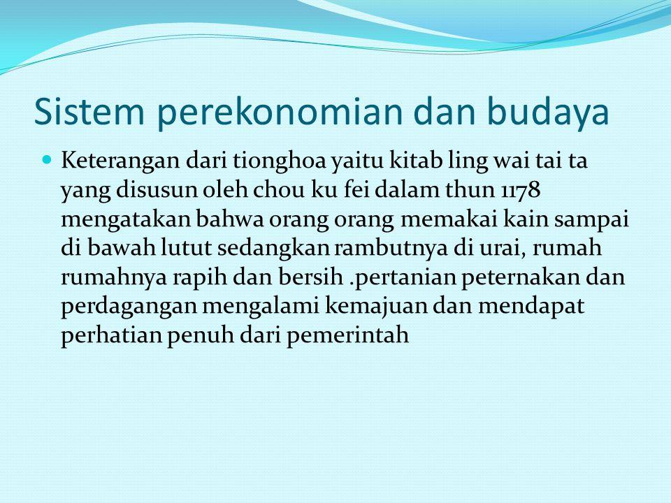 Sistem perekonomian dan budaya