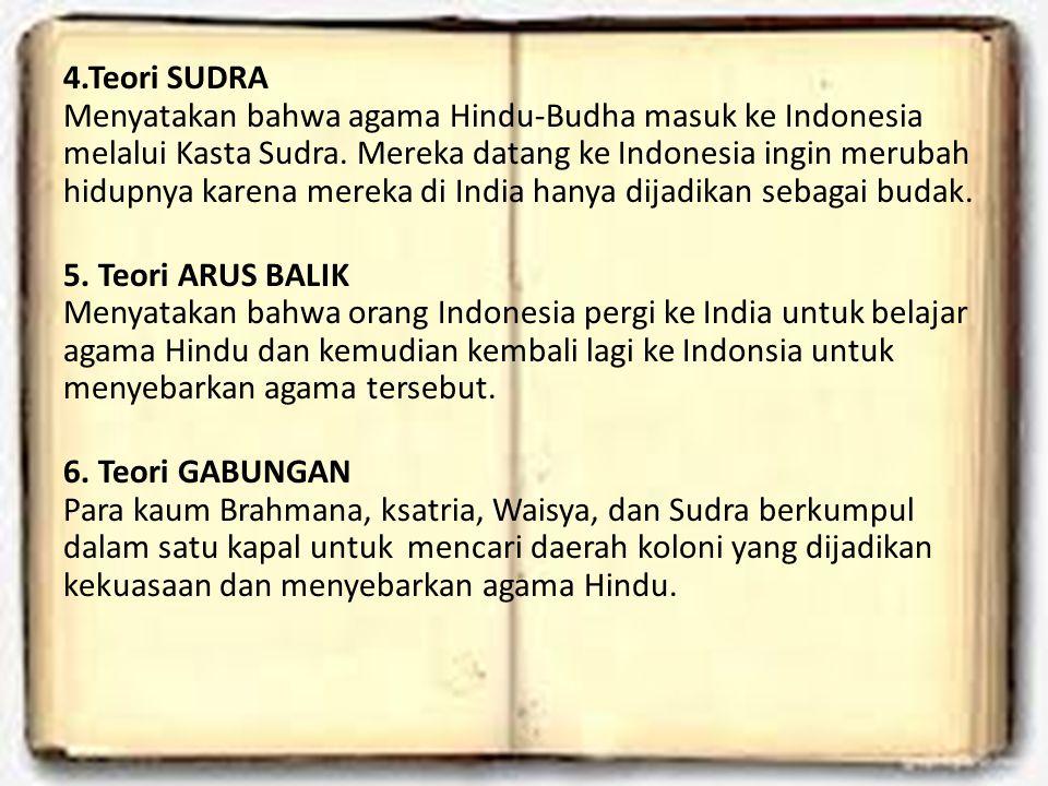 4.Teori SUDRA Menyatakan bahwa agama Hindu-Budha masuk ke Indonesia melalui Kasta Sudra.