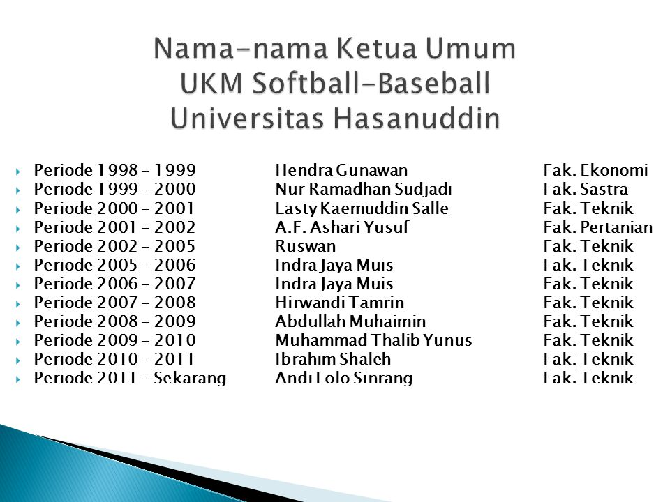 Nama-nama Ketua Umum UKM Softball-Baseball Universitas Hasanuddin