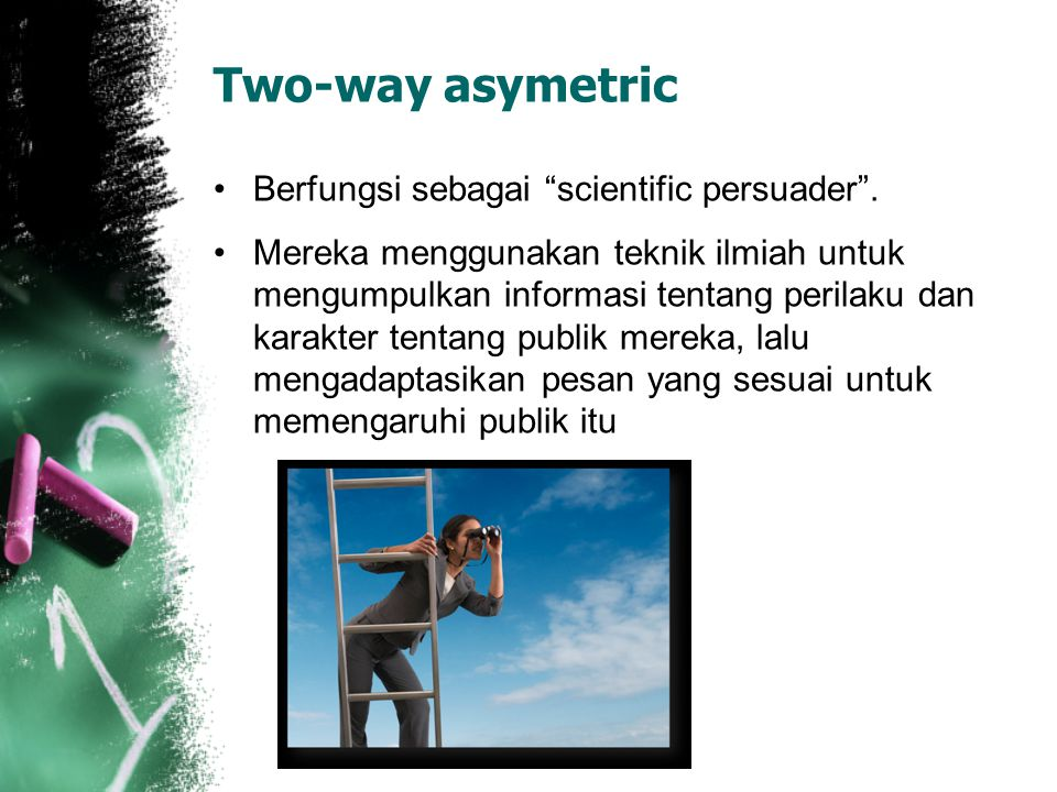 Two-way asymetric Berfungsi sebagai scientific persuader .