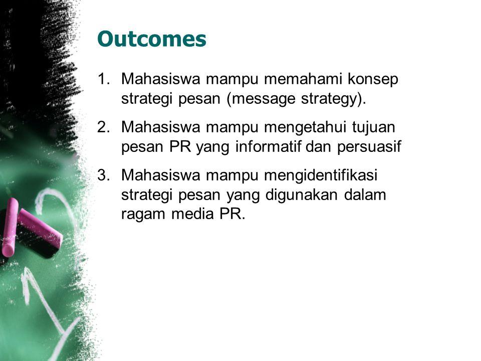 Outcomes Mahasiswa mampu memahami konsep strategi pesan (message strategy). Mahasiswa mampu mengetahui tujuan pesan PR yang informatif dan persuasif.
