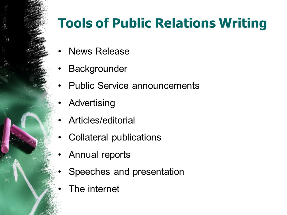 Tools of Public Relations Writing