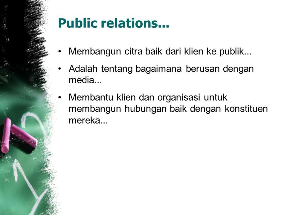 Public relations... Membangun citra baik dari klien ke publik...