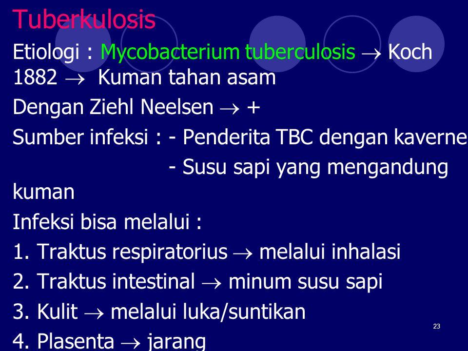 Tuberkulosis Etiologi : Mycobacterium tuberculosis  Koch 1882  Kuman tahan asam. Dengan Ziehl Neelsen  +