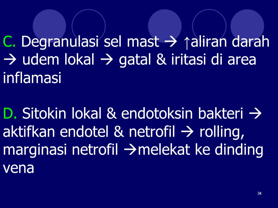 C. Degranulasi sel mast  ↑aliran darah  udem lokal  gatal & iritasi di area inflamasi D.