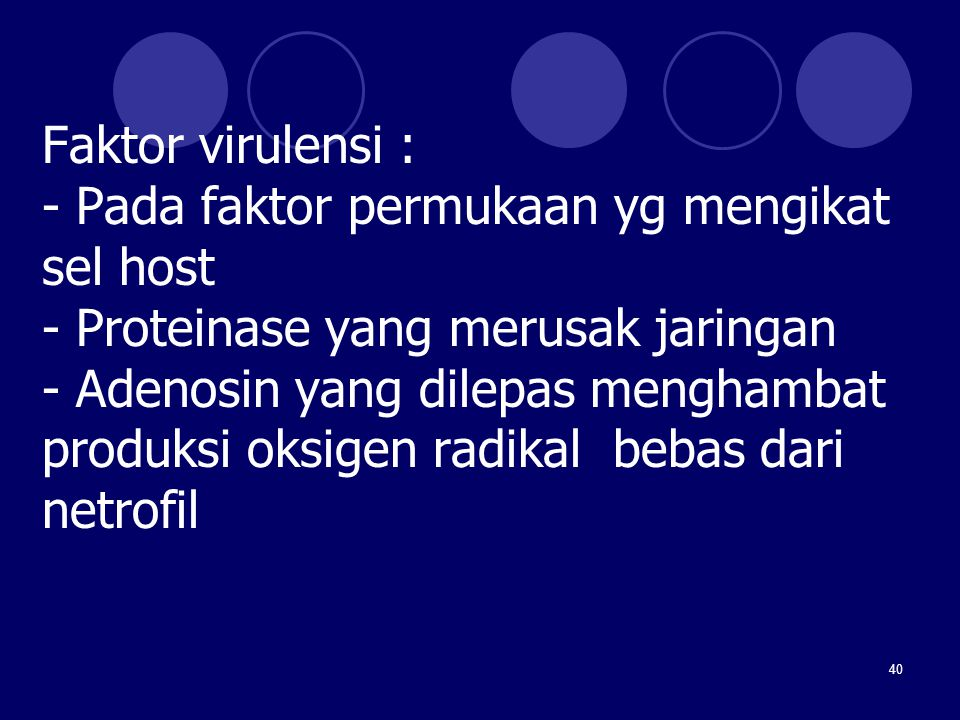 Faktor virulensi : - Pada faktor permukaan yg mengikat sel host - Proteinase yang merusak jaringan - Adenosin yang dilepas menghambat produksi oksigen radikal bebas dari netrofil