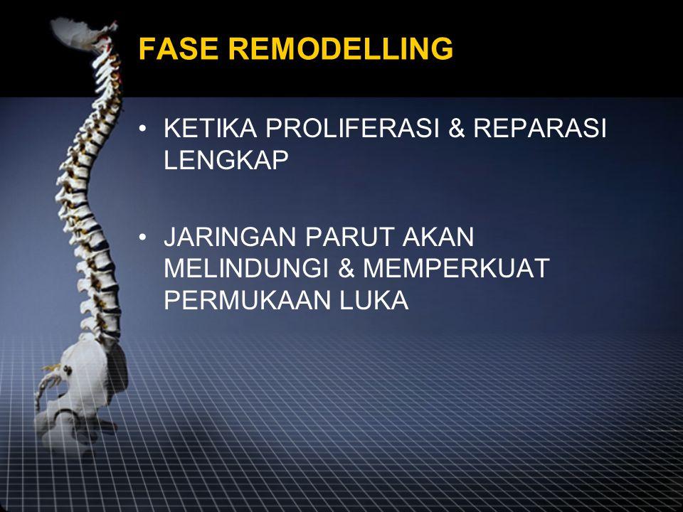 FASE REMODELLING KETIKA PROLIFERASI & REPARASI LENGKAP