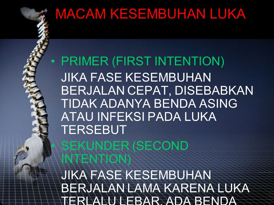 MACAM KESEMBUHAN LUKA PRIMER (FIRST INTENTION)