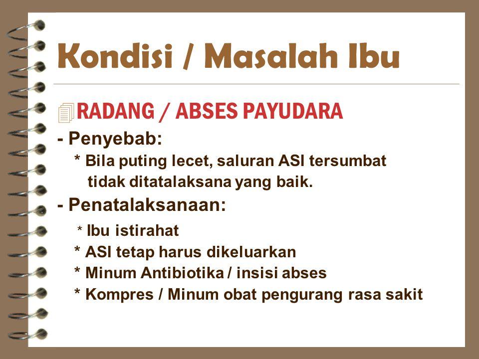Kondisi / Masalah Ibu RADANG / ABSES PAYUDARA - Penyebab: