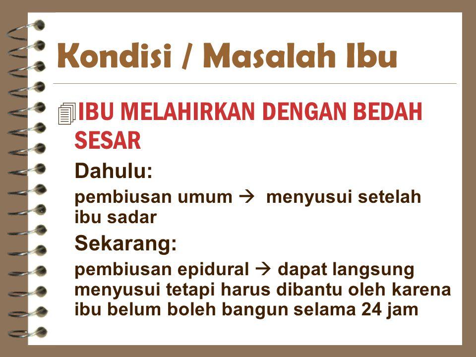 Kondisi / Masalah Ibu IBU MELAHIRKAN DENGAN BEDAH SESAR Dahulu: