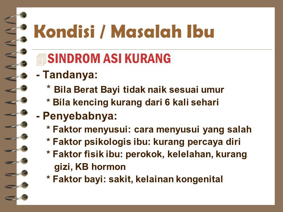 Kondisi / Masalah Ibu SINDROM ASI KURANG - Tandanya: