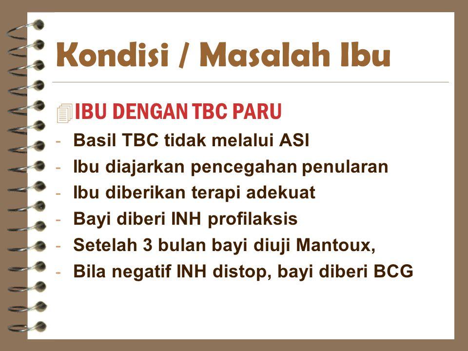 Kondisi / Masalah Ibu IBU DENGAN TBC PARU Basil TBC tidak melalui ASI