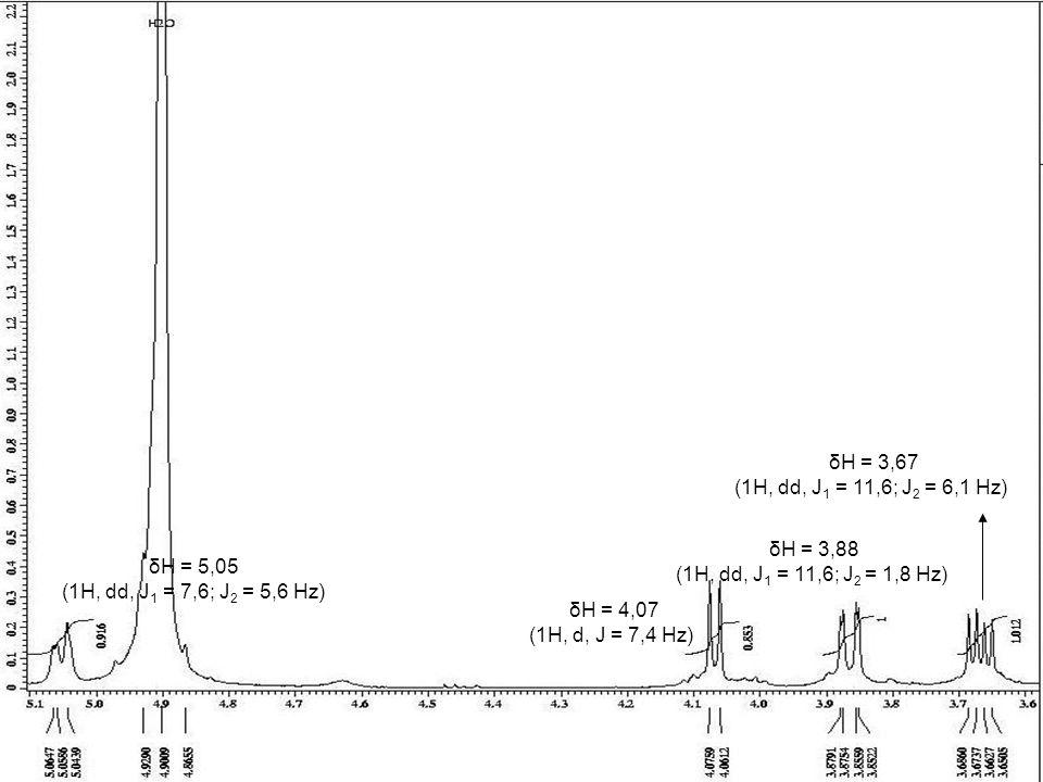 δH = 3,67 (1H, dd, J1 = 11,6; J2 = 6,1 Hz) δH = 3,88. (1H, dd, J1 = 11,6; J2 = 1,8 Hz) δH = 5,05.