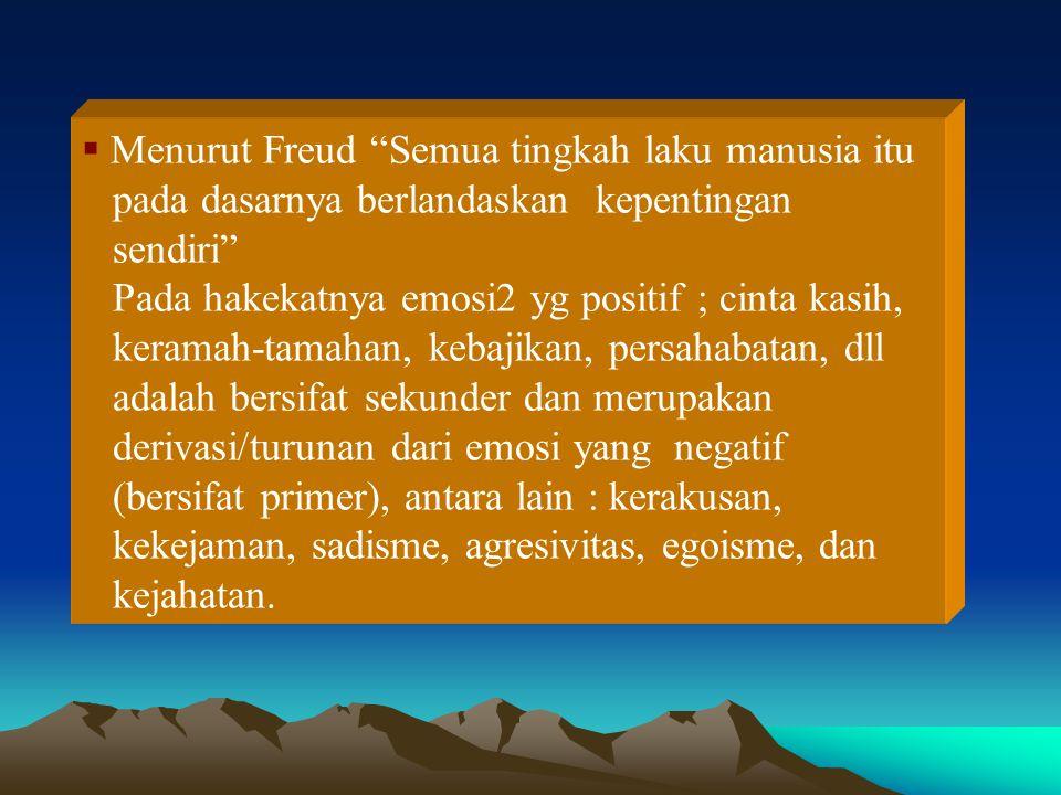Menurut Freud Semua tingkah laku manusia itu