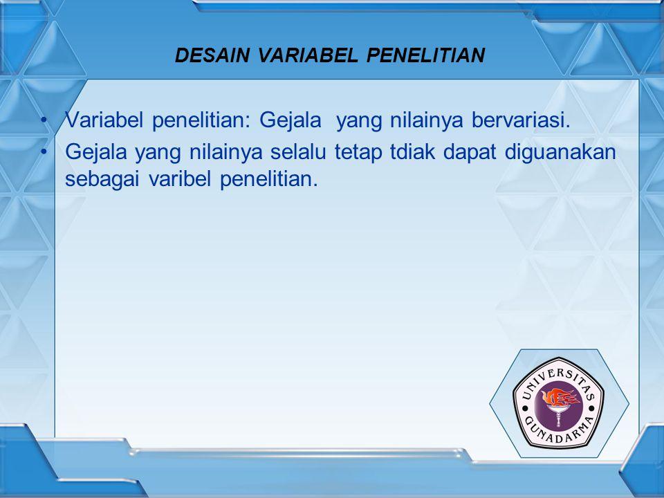 DESAIN VARIABEL PENELITIAN