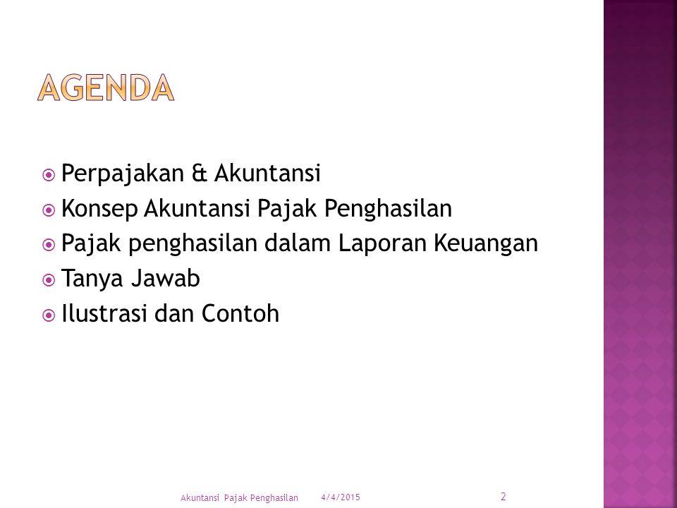 AgenDA Perpajakan & Akuntansi Konsep Akuntansi Pajak Penghasilan