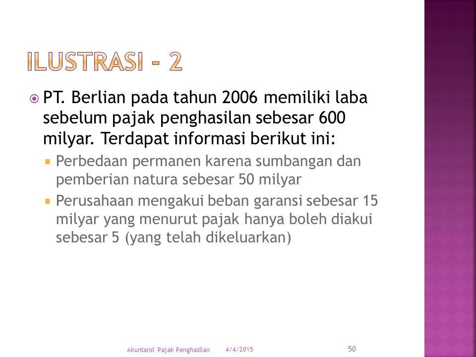 ILUSTRAsi - 2 PT. Berlian pada tahun 2006 memiliki laba sebelum pajak penghasilan sebesar 600 milyar. Terdapat informasi berikut ini: