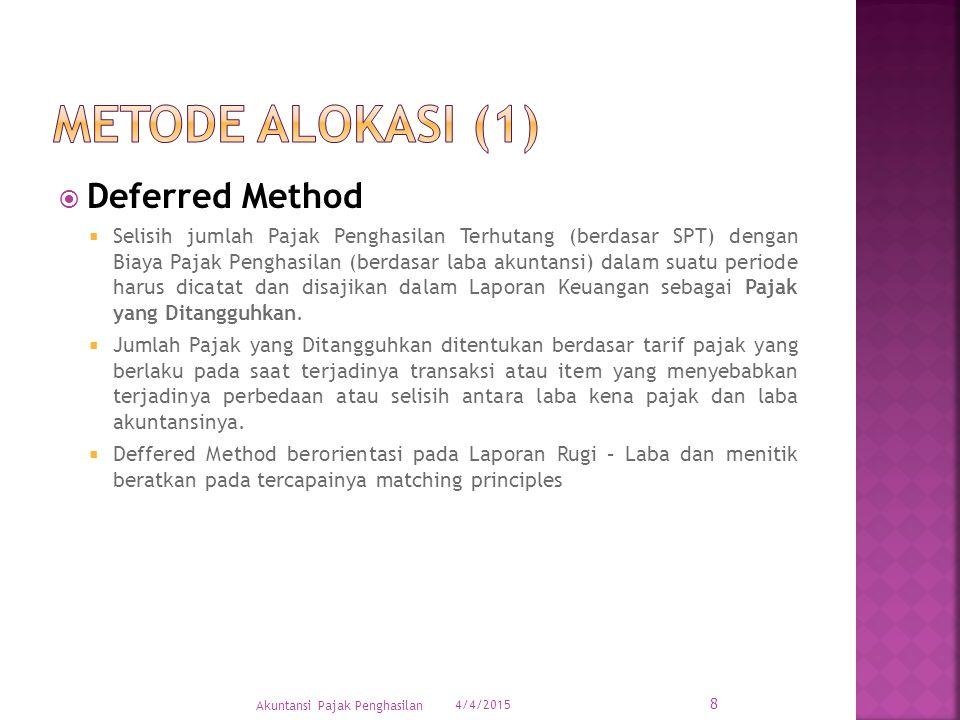 Metode alokasi (1) Deferred Method