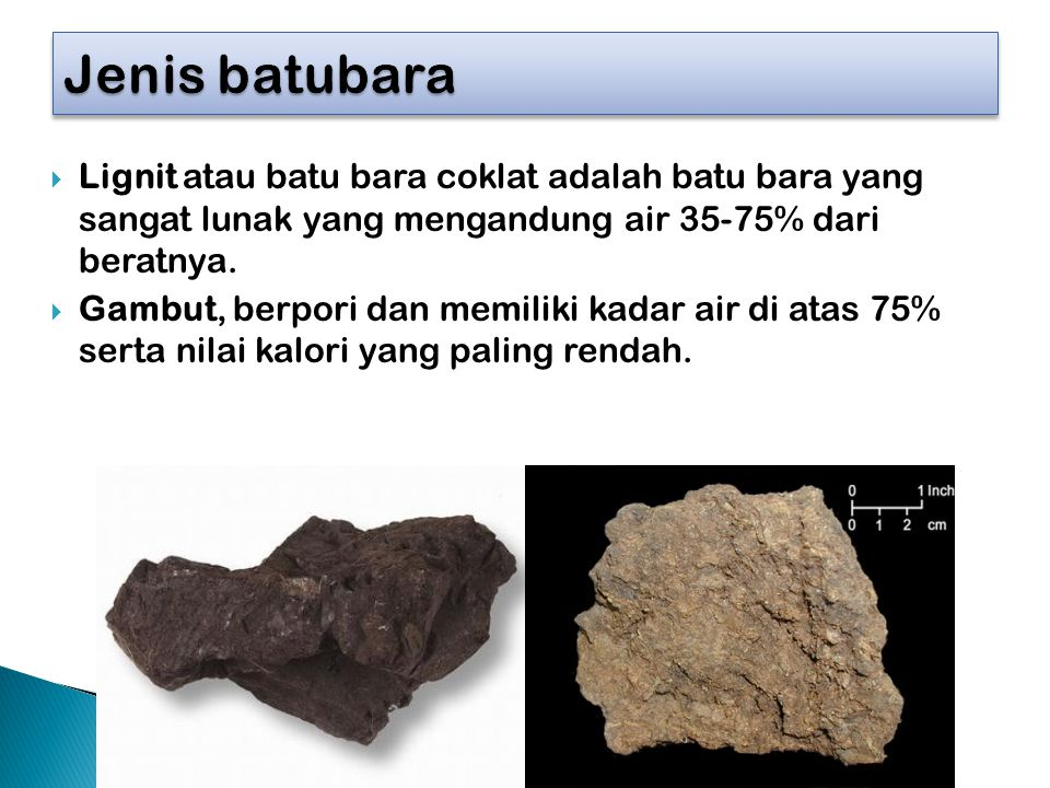 Jenis batubara Lignit atau batu bara coklat adalah batu bara yang sangat lunak yang mengandung air 35-75% dari beratnya.