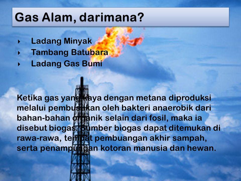 Gas Alam, darimana Ladang Minyak Tambang Batubara Ladang Gas Bumi