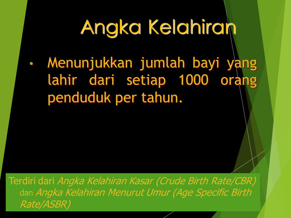 Angka Kelahiran Menunjukkan jumlah bayi yang lahir dari setiap 1000 orang penduduk per tahun.