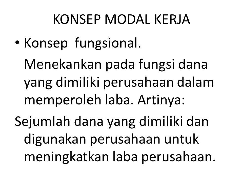 KONSEP MODAL KERJA Konsep fungsional. Menekankan pada fungsi dana yang dimiliki perusahaan dalam memperoleh laba. Artinya: