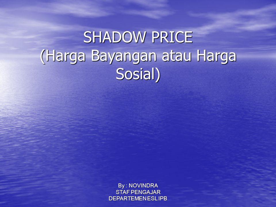 SHADOW PRICE (Harga Bayangan atau Harga Sosial)