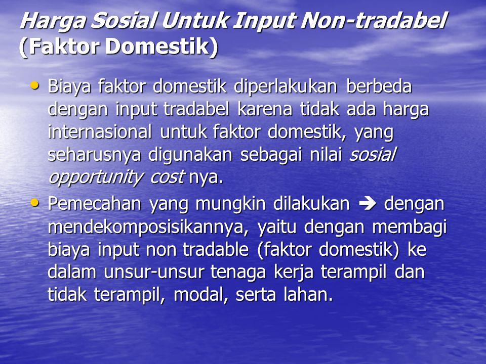 Harga Sosial Untuk Input Non-tradabel (Faktor Domestik)