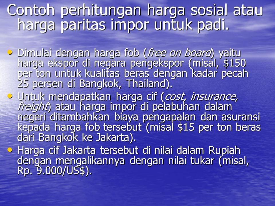 Contoh perhitungan harga sosial atau harga paritas impor untuk padi.