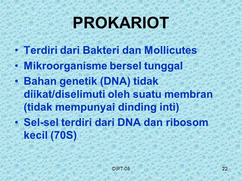 PROKARIOT Terdiri dari Bakteri dan Mollicutes