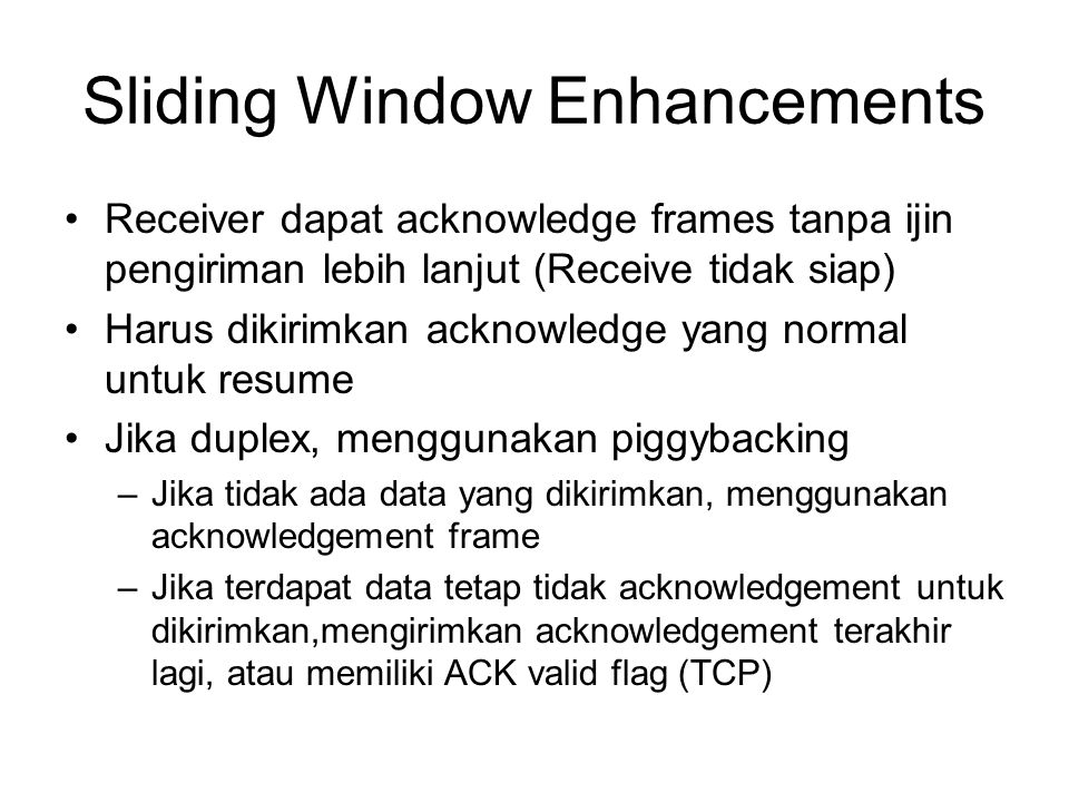 Sliding Window Enhancements