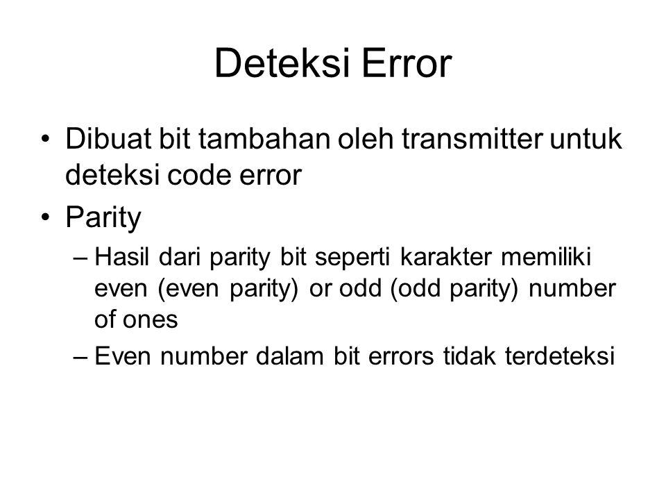Deteksi Error Dibuat bit tambahan oleh transmitter untuk deteksi code error. Parity.
