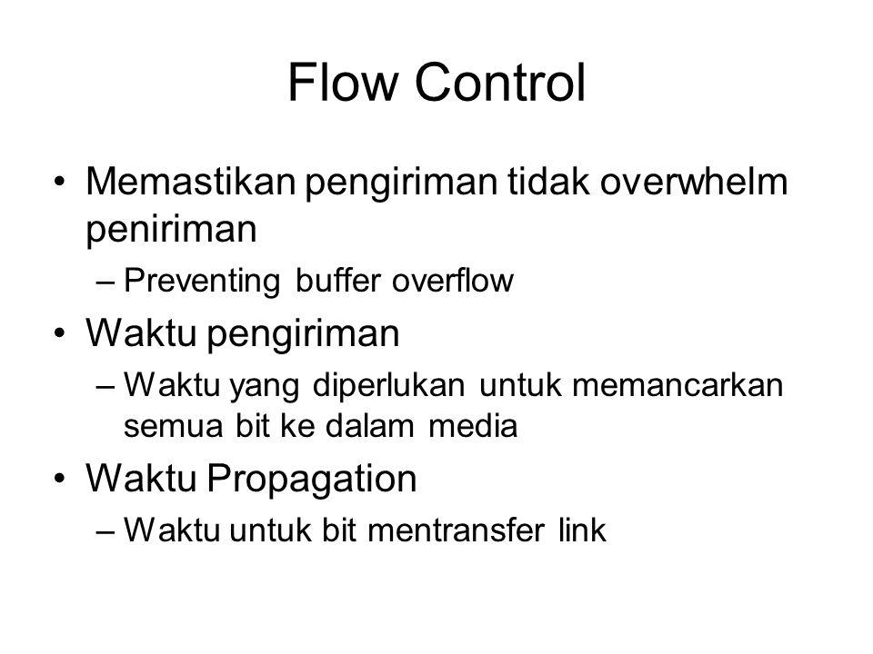 Flow Control Memastikan pengiriman tidak overwhelm peniriman