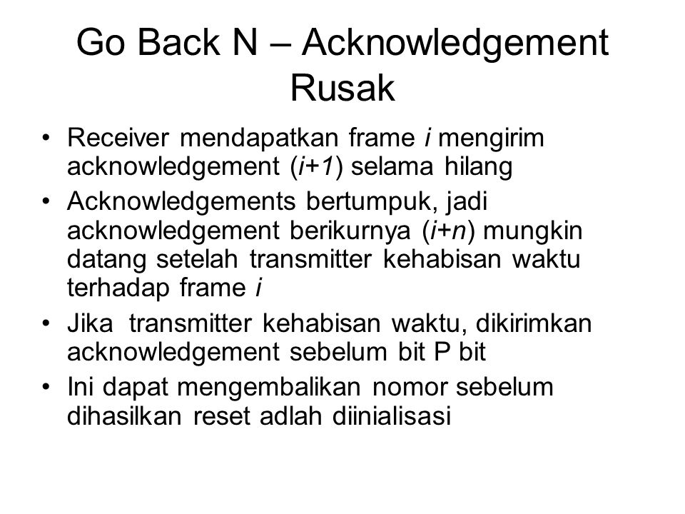 Go Back N – Acknowledgement Rusak