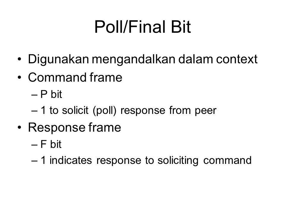 Poll/Final Bit Digunakan mengandalkan dalam context Command frame