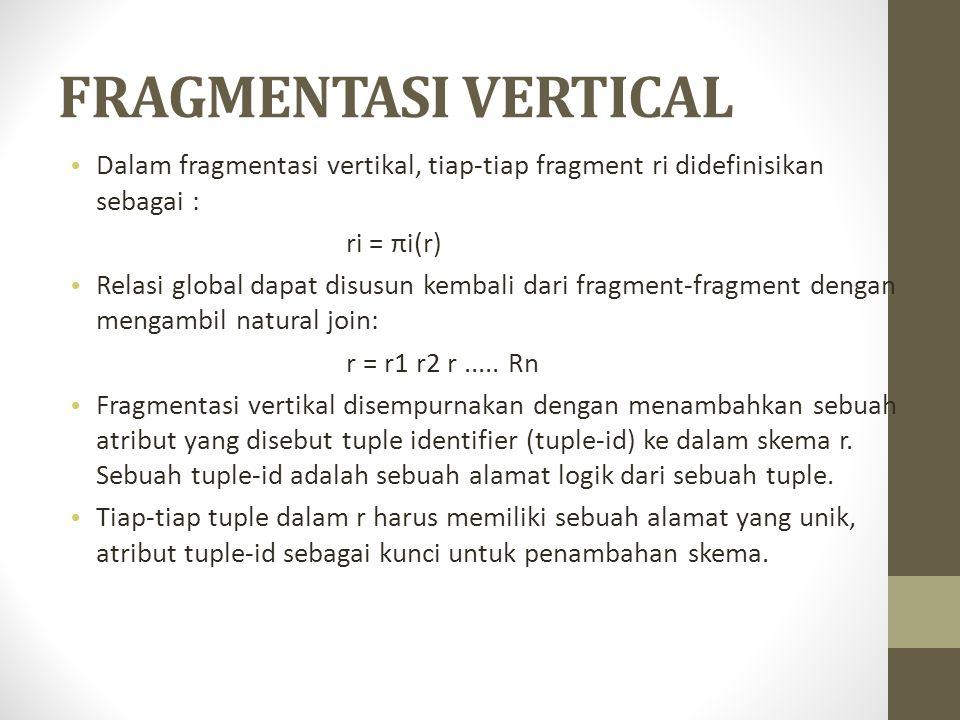 FRAGMENTASI VERTICAL Dalam fragmentasi vertikal, tiap-tiap fragment ri didefinisikan sebagai : ri = πi(r)