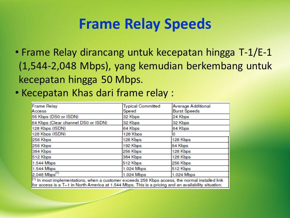 Frame Relay Speeds Frame Relay dirancang untuk kecepatan hingga T-1/E-1 (1,544-2,048 Mbps), yang kemudian berkembang untuk kecepatan hingga 50 Mbps.