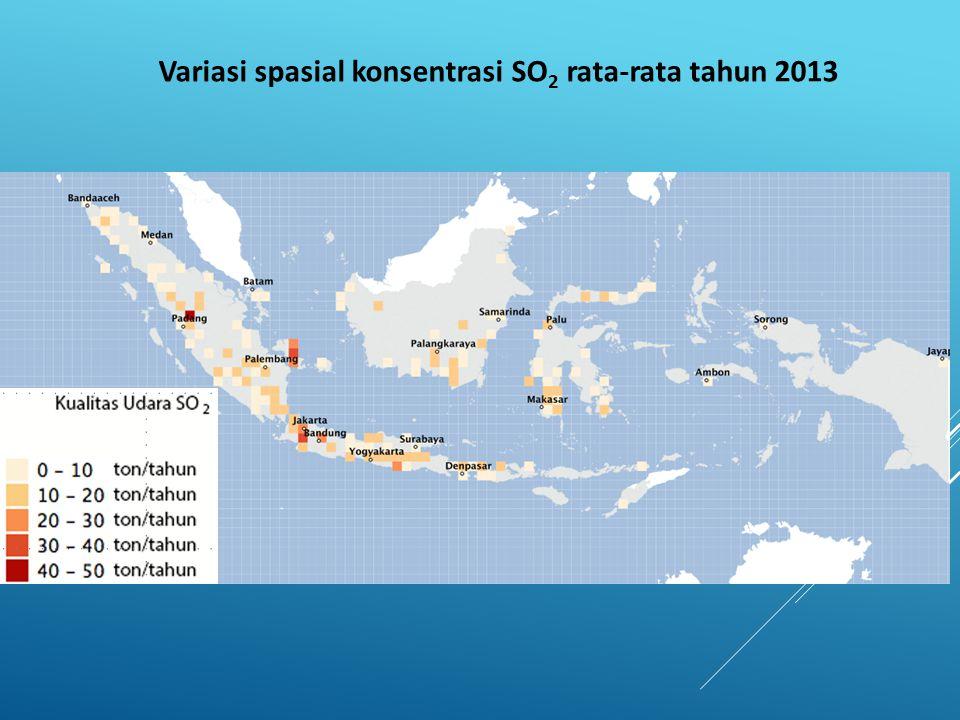 Variasi spasial konsentrasi SO2 rata-rata tahun 2013