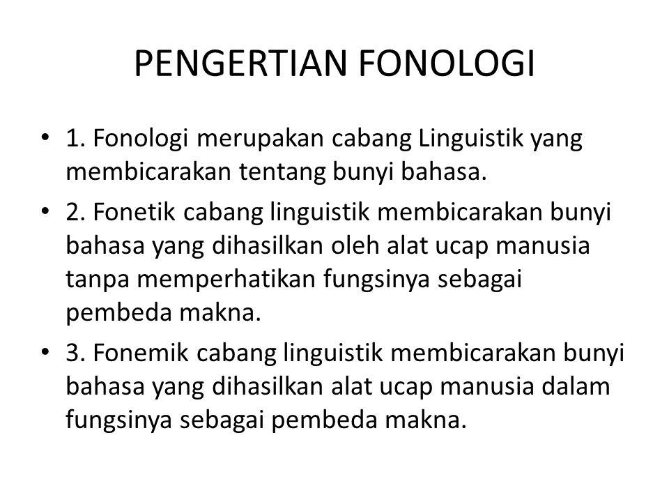 PENGERTIAN FONOLOGI 1. Fonologi merupakan cabang Linguistik yang membicarakan tentang bunyi bahasa.