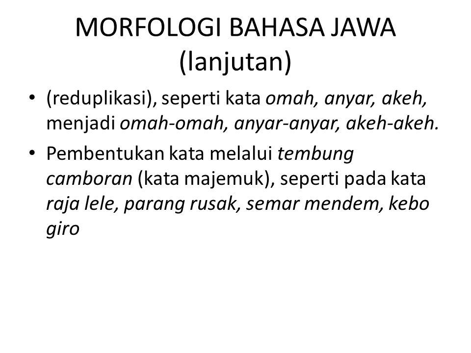 MORFOLOGI BAHASA JAWA (lanjutan)