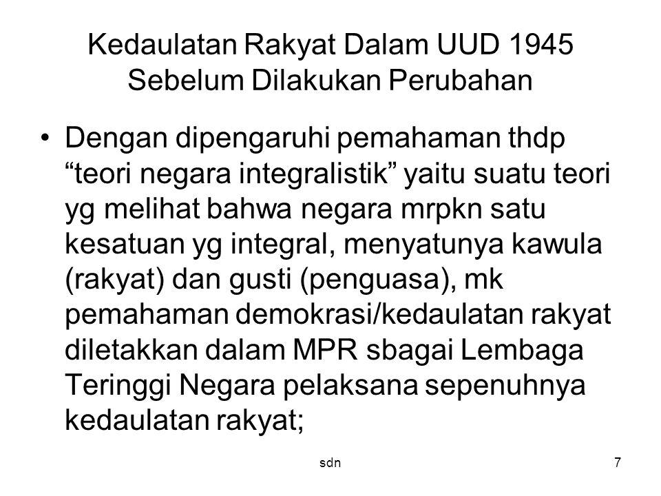 Kedaulatan Rakyat Dalam UUD 1945 Sebelum Dilakukan Perubahan