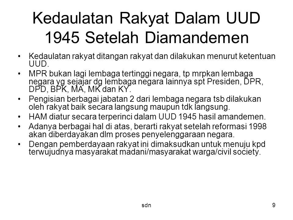 Kedaulatan Rakyat Dalam UUD 1945 Setelah Diamandemen