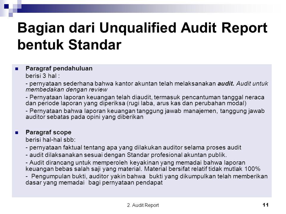 Bagian dari Unqualified Audit Report bentuk Standar