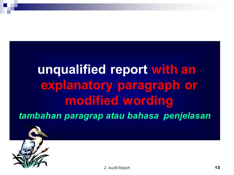 unqualified report with an explanatory paragraph or modified wording