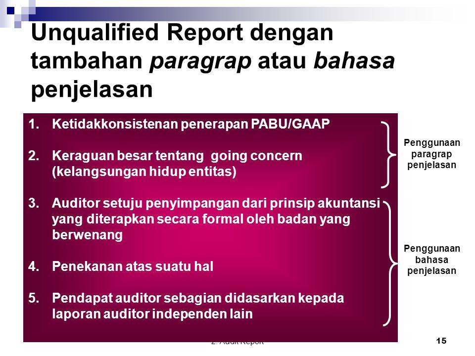 Unqualified Report dengan tambahan paragrap atau bahasa penjelasan