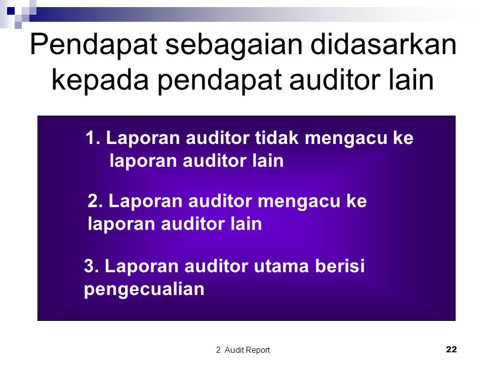 Pendapat sebagaian didasarkan kepada pendapat auditor lain