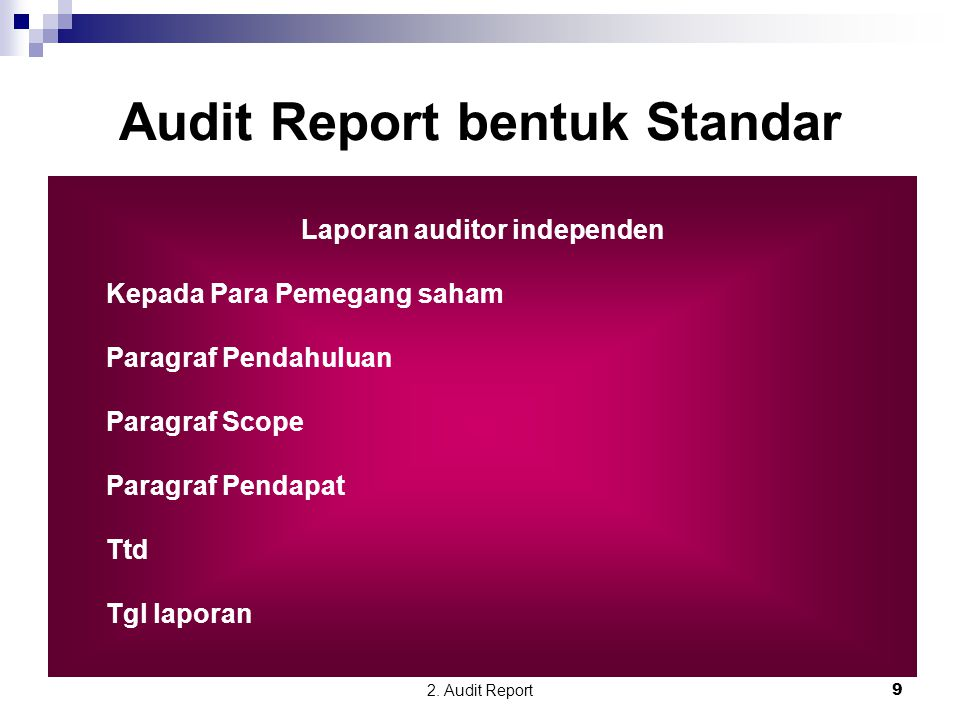 Audit Report bentuk Standar